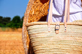 straw bag - long handles and buckle