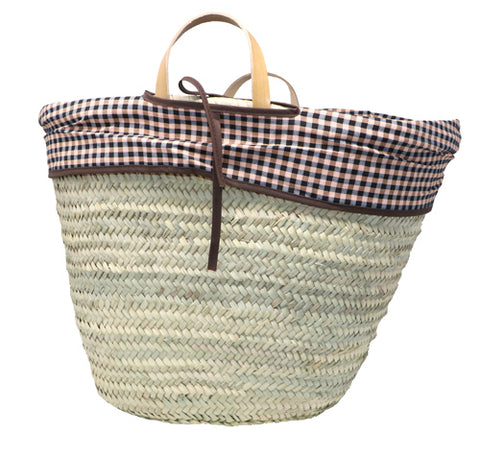 straw bag - inside lining - short handles