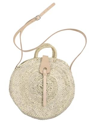 round straw bag - leather buckle