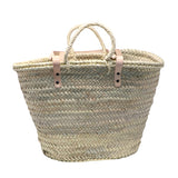 straw bag long leather handles - MEDIUM