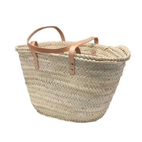 straw bag long leather handles - SMALL