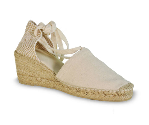 lace up wedge espadrilles - ivory white/beige