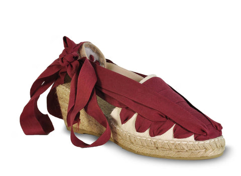 lace up wedge espadrilles - burgundy red