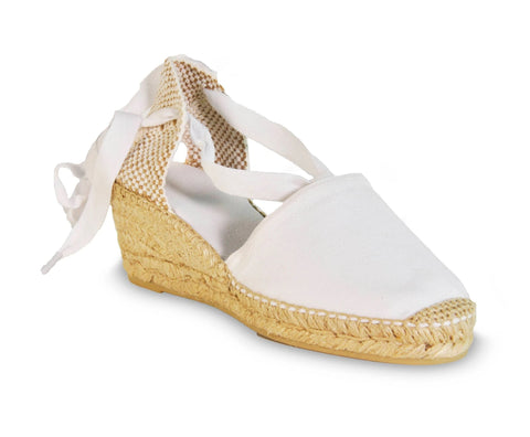 lace up wedge espadrilles - white