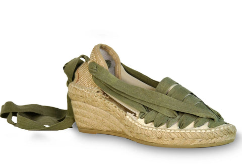 lace up wedge espadrilles - green