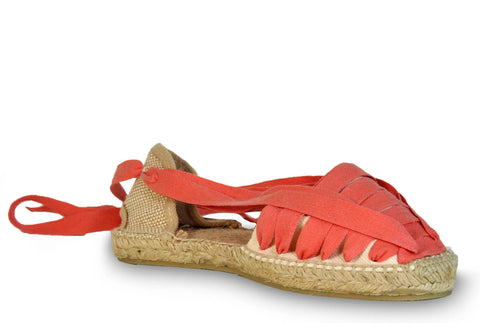 lace up espadrilles - coral red