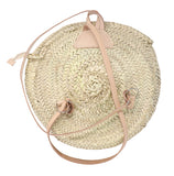 straw backpack - double leather handle and zipper