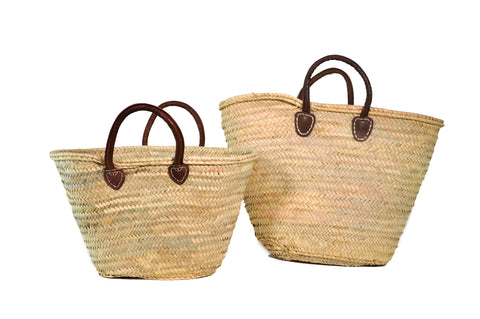 straw bag - short leather handles