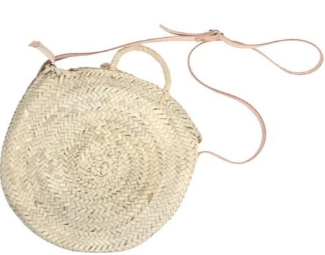 round straw bag - zipper closing