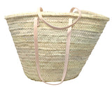 straw bag long leather handles & zipper - LARGE