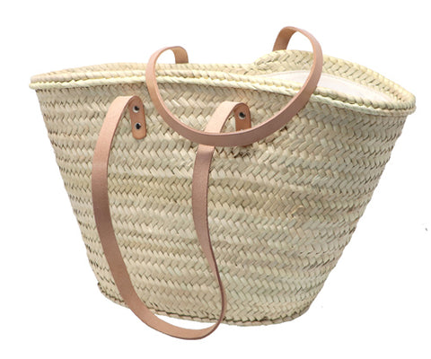 straw bag long leather handles & zipper - MEDIUM