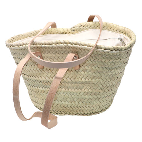 straw bag long leather handles & zipper - SMALL