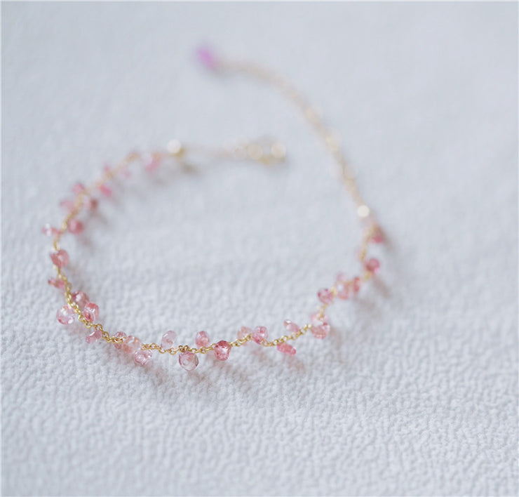RAW CUT STRAWBERRY QUARTZ BRACELET