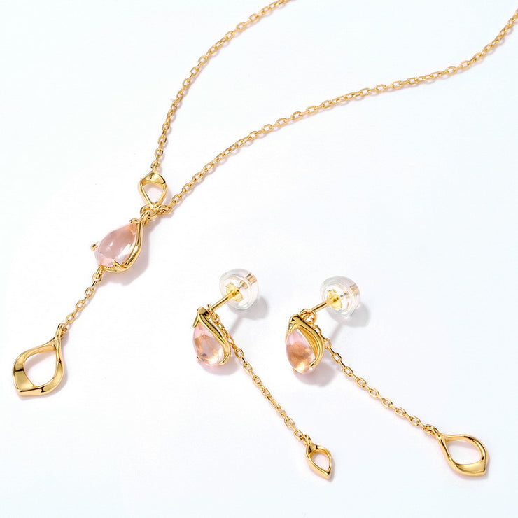 PINK QUARTZ SAKURA PETAL NECKLACE & EARRINGS SET