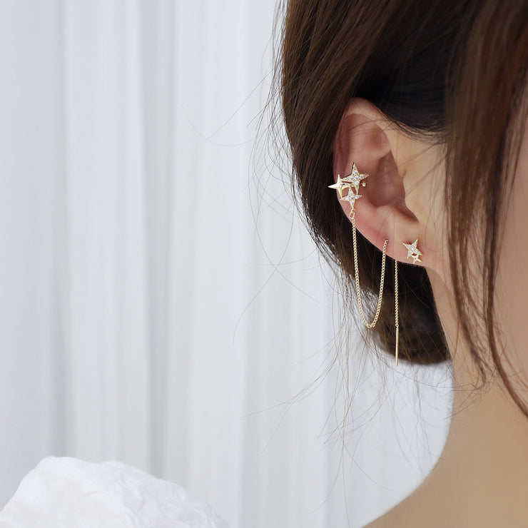 UNEVEN SHOOTING STAR EAR CUFF THREADER