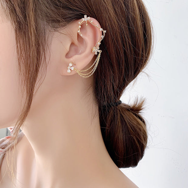 BRANCH OF THE CHERRY BLOSSOM TREE EAR CUFF STUDS