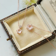 PINK QUARTZ SAKURA FLOWER NECKLACE