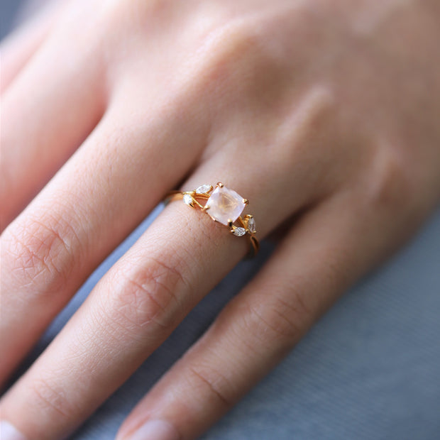 PINK QUARTZ OLIVE BRANCH RING