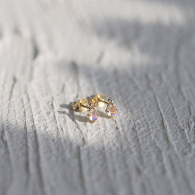MOONSTONE EAR STUDS (14K GOLD)