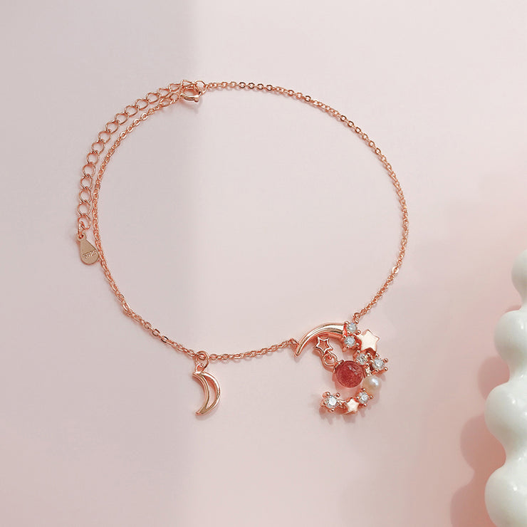 STRAWBERRY QUARTZ LUNA MOON ANKLET