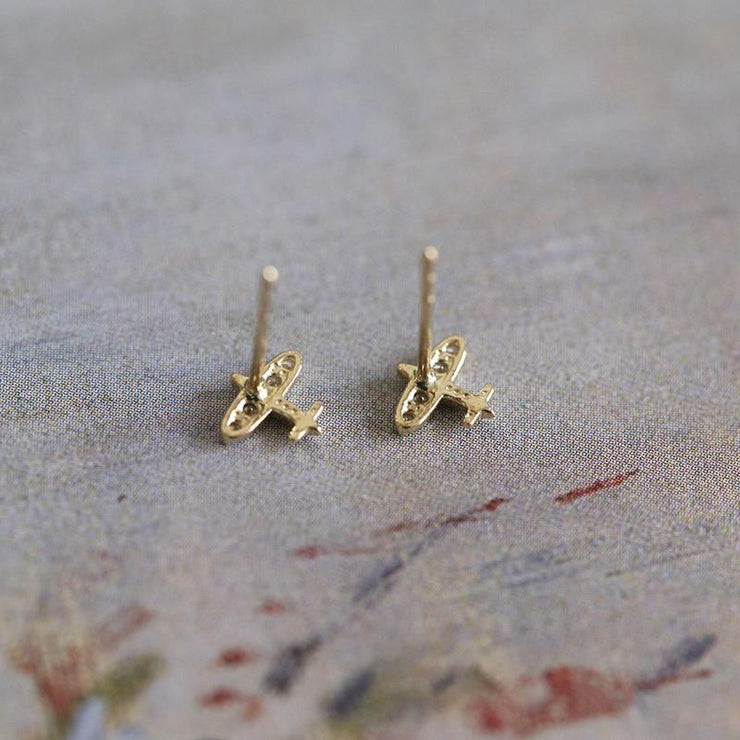 AIRPLANE EAR STUDS (9K GOLD)