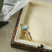 BLUE TOPAZ TEARDROP RING