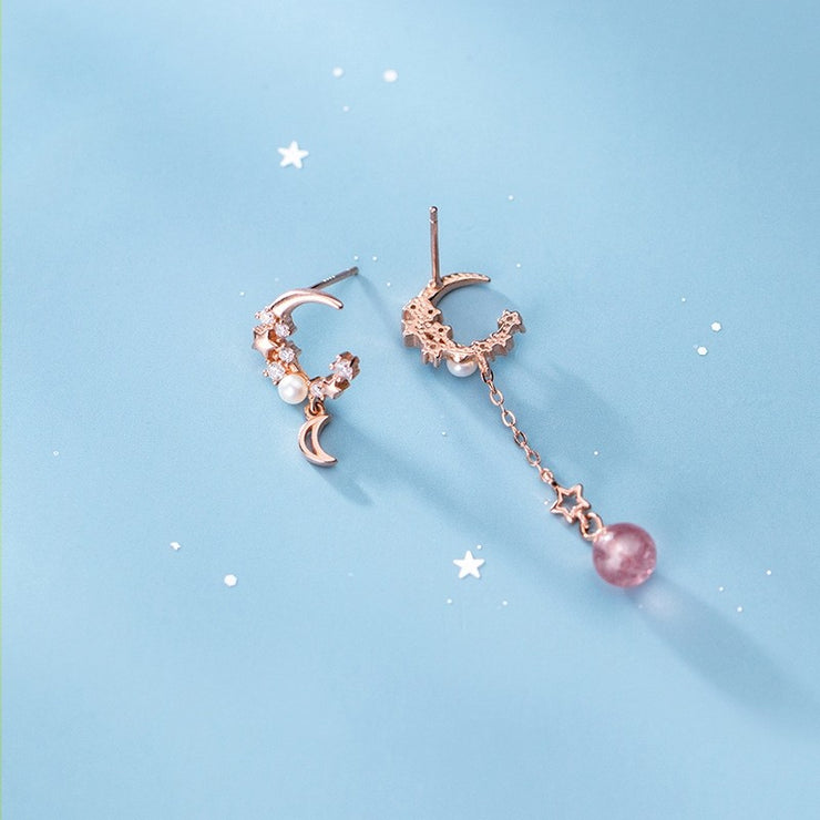 STRAWBERRY QUARTZ LUNA MOON STUDS