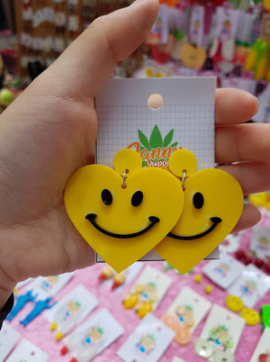 Smile Yellow Heart Earrings
