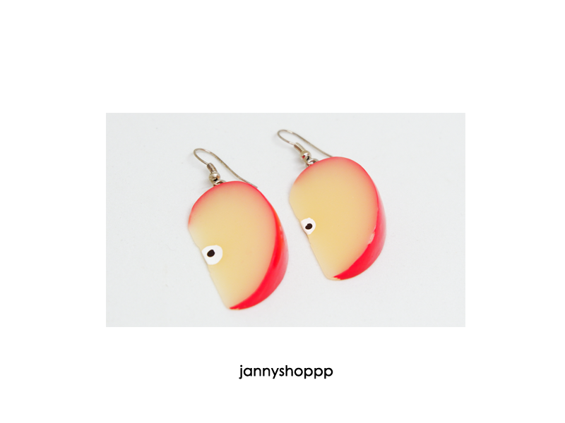 Red Apple Slice Earrings