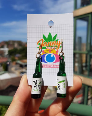 Soju Bottle Earrings-Green