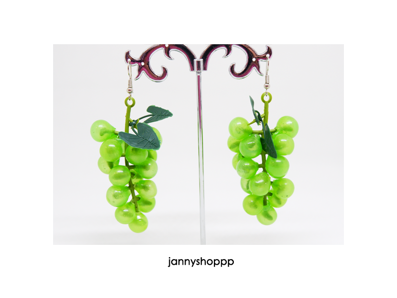 Grape Earrings in Emerald Green