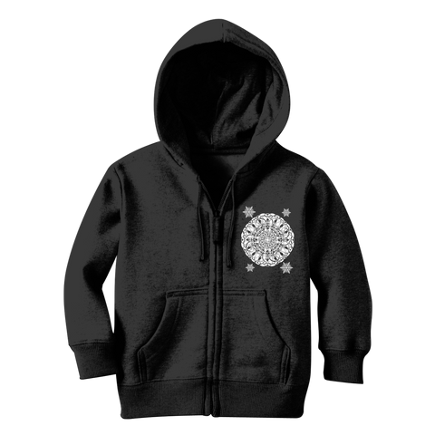 Christmas Mandala with Snowflakes Classic Kids Zip Hoodie