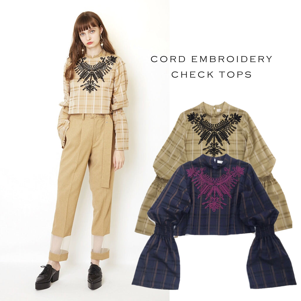 CORD EMBROIDERY CHECK TOPS