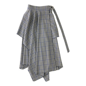CHECK WRAP SKIRT