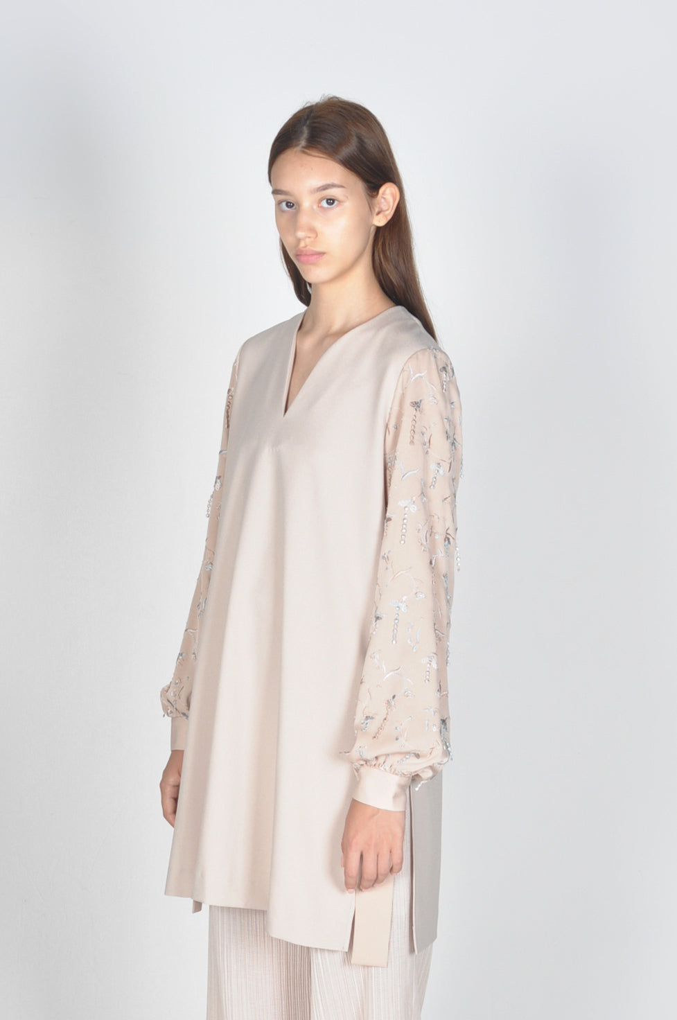 Snow Drop Embroidered Sleeve Tunic