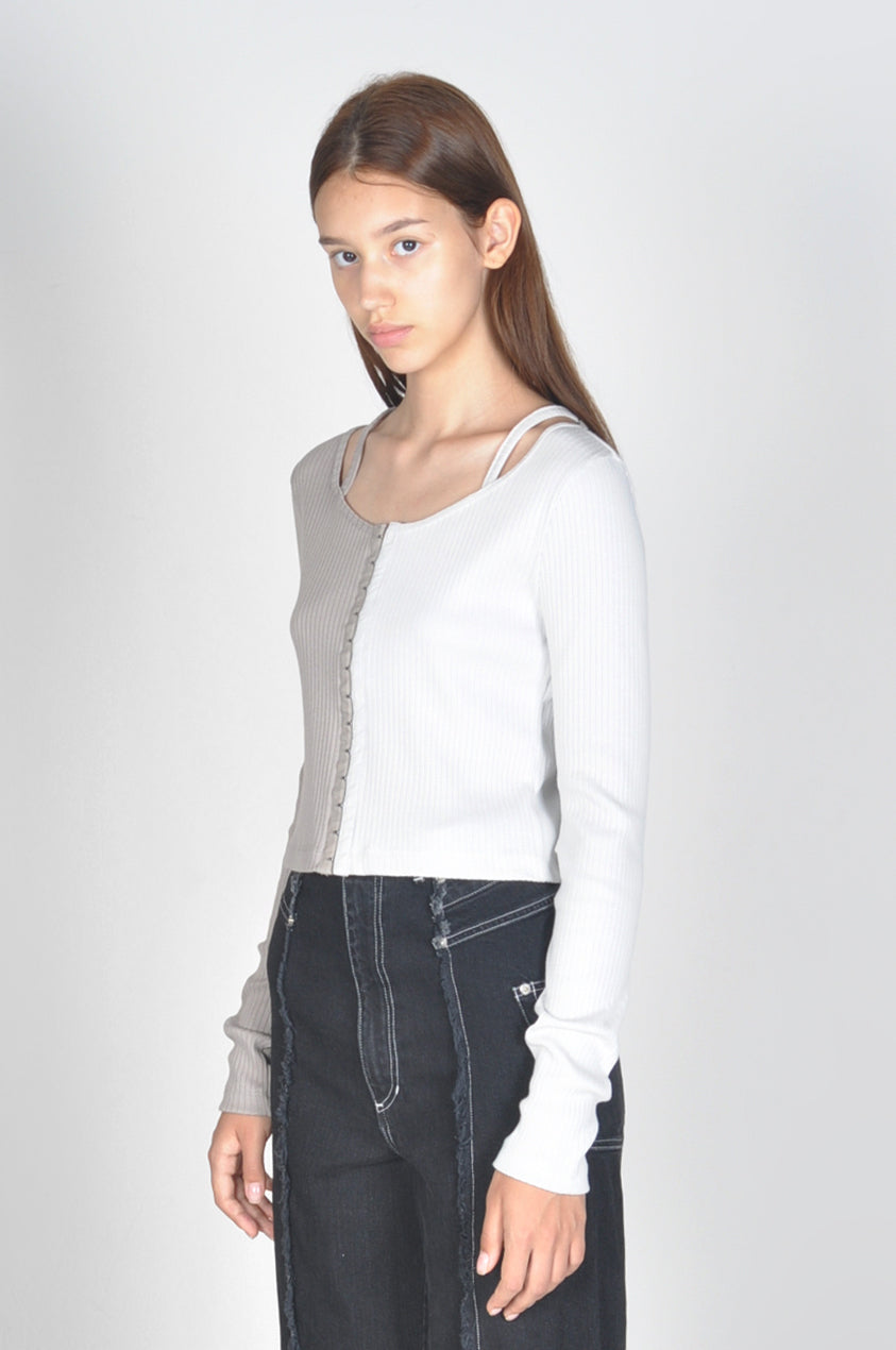 Bi-Color Rib-Knit Top