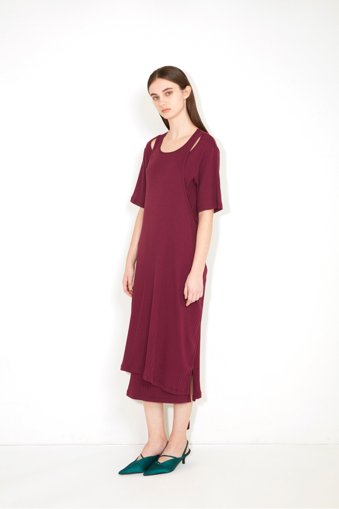 LAYERED APRON RIB DRESS