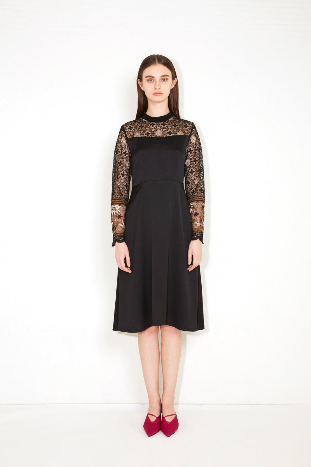 PICTORIAL LACE SLEEVE DRESS