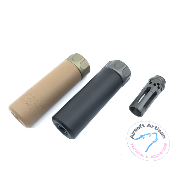 AIRSOFT ARTISAN SF STYLE 5inch Mini Silencer + W COMP FLASH HIDER ( BLACK / DARK EARTH )