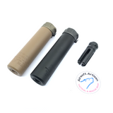 AIRSOFT ARTISAN SF STYLE 6.2inch Socom silencer + 4 PRONG FLASH HIDER + ACE TECH AT2000R TRACER UNIT ( BLACK / DARK EARTH )