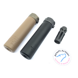 AIRSOFT ARTISAN SF STYLE 6.2inch Socom silencer + W COMP FLASH HIDER  ( BLACK / DARK EARTH )