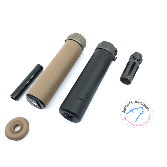 AIRSOFT ARTISAN SF STYLE 6.2inch Socom silencer + W COMP FLASH HIDER + ACE TECH AT2000R TRACER UNIT ( BLACK / DARK EARTH )