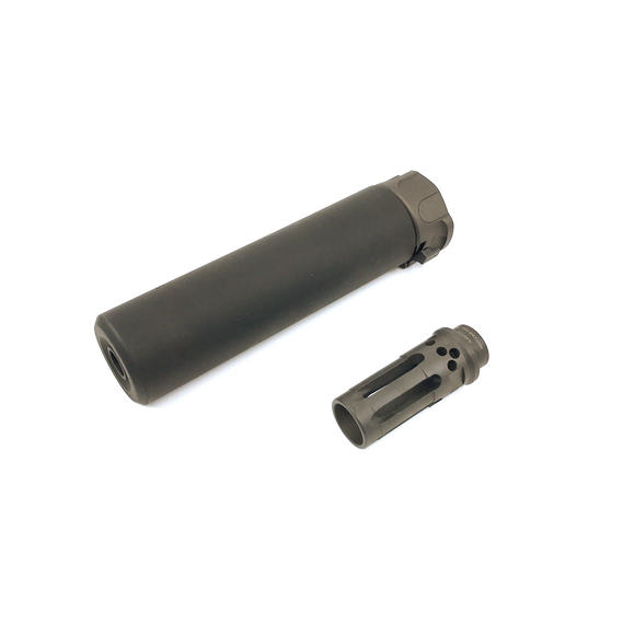 AIRSOFT ARTISAN SF STYLE 6.2inch Socom silencer + W COMP FLASH HIDER ( Black )