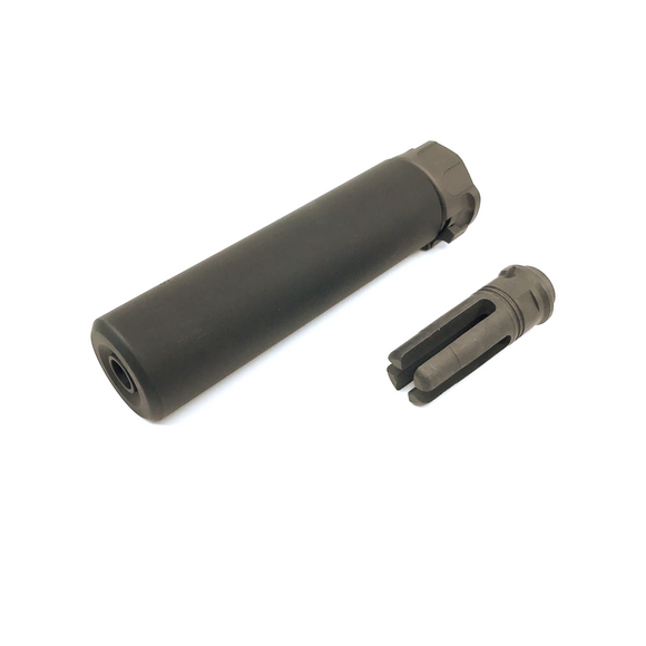 AIRSOFT ARTISAN SF STYLE 6.2inch Socom silencer + 4 PRONG FLASH HIDER ( BLACK )