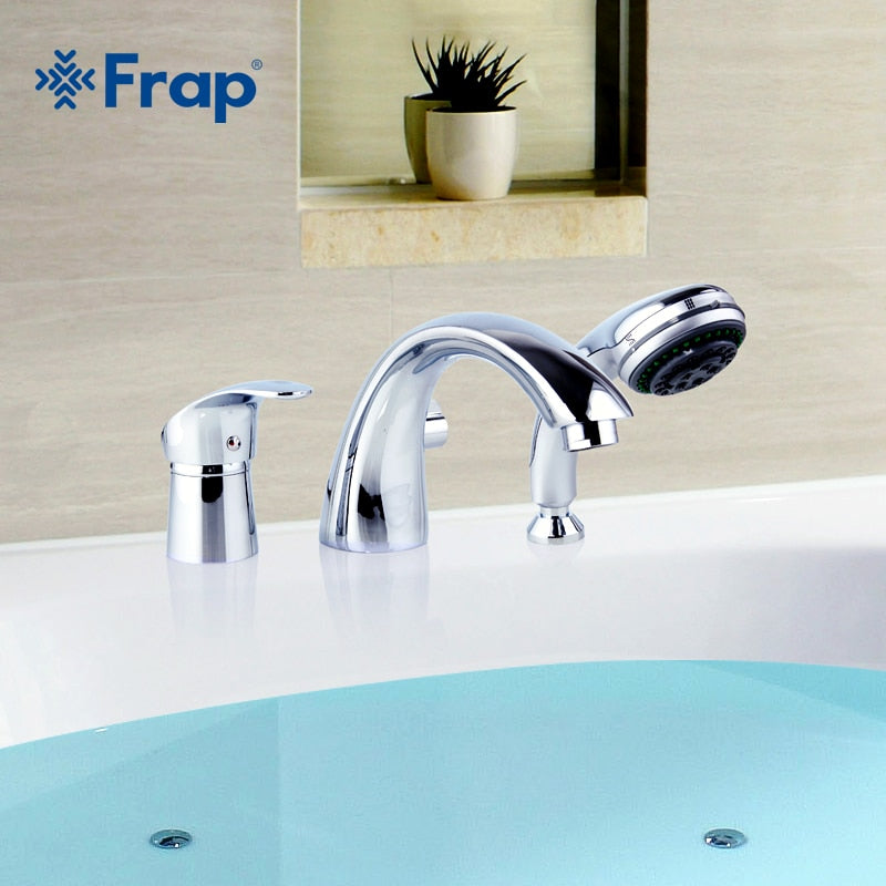 Frap Three-piece Bathtub Faucet Full Three-hole Separation Split Bath Tub Hot and Cold Water Mixer with Hand Shower F1121