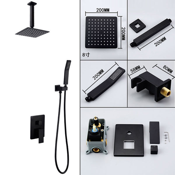 FRAP Wall bathroom shower faucet brass set black rainfall shower mixer tap chrome bathtub faucet waterfall Bath ShowerY24018/19 - elbow45.com