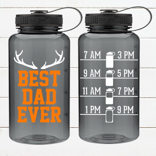 Best Dad Ever Antlers - 34 oz water bottle