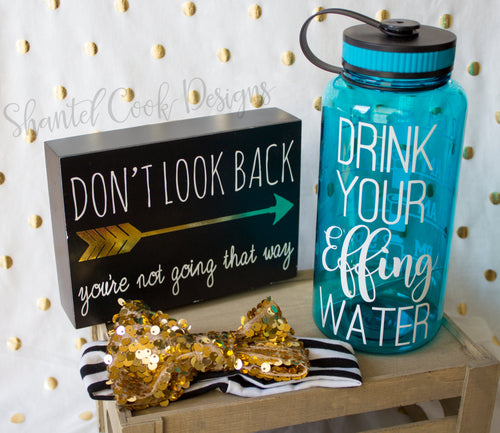 Drink Your Effing Water - Teal 34 oz water bottle