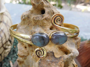 Labradorite Twin Stone Spirals Bangle Blue - Avashy