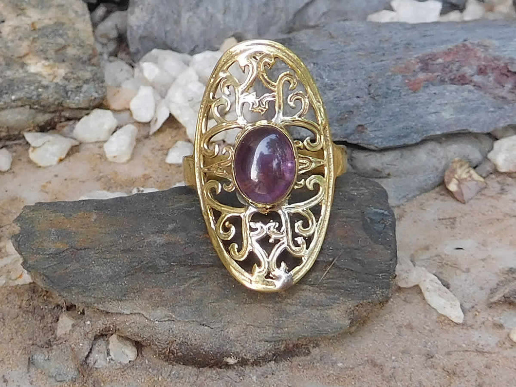 Amethyst Oval Lattice Ring - Avashy